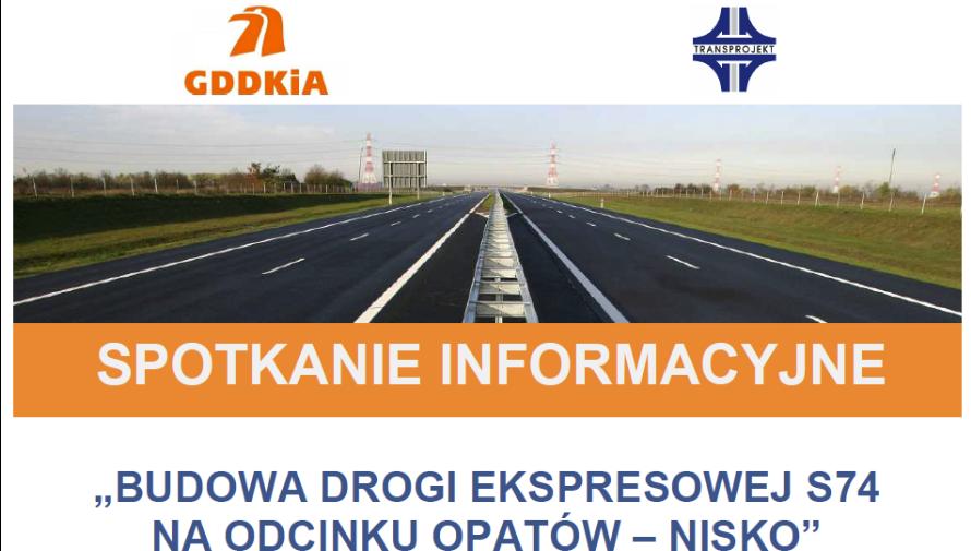 Plakat informacyjny budowa drogi S74